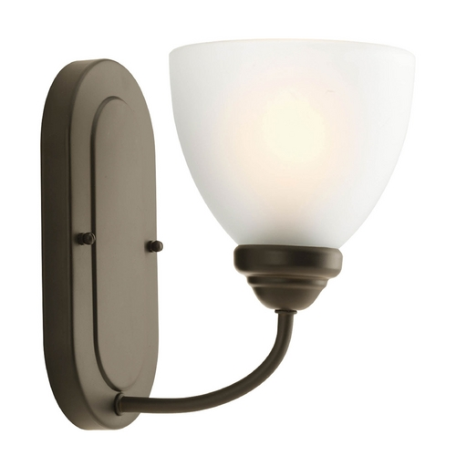 Progress Lighting Progress Sconce Wall Light with White Glass in Antique Bronze Finish P2913-20
