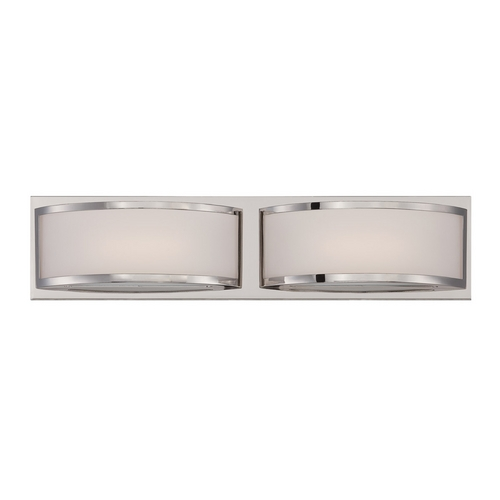 Nuvo Lighting Modern LED Bathroom Light with White Glass in Polished Nickel Finish 62/312