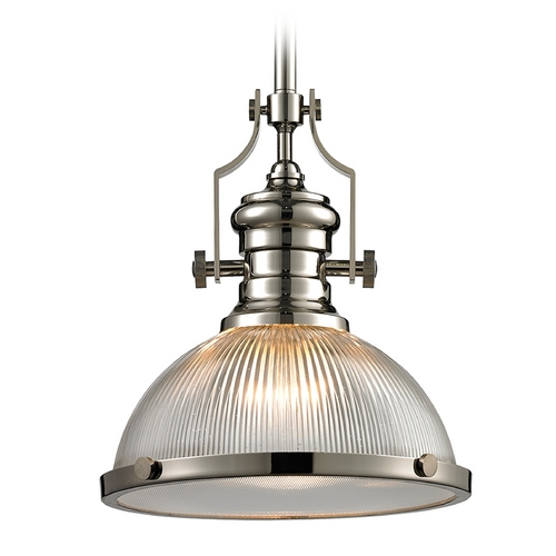 Elk Lighting Pendant Light with Clear Glass in Polished Nickel Finish 66513-1