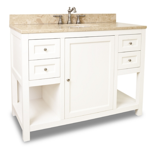 Hardware Resources Bathroom Vanity in Cream White Finish - Pre Assembled Top and Bowl VAN091-48-T