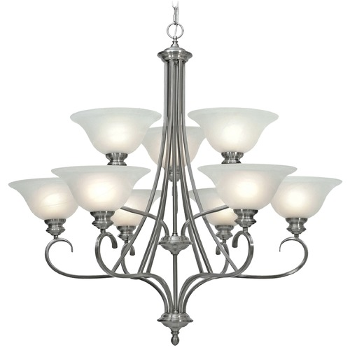 Golden Lighting Golden Lighting Lancaster Pewter Chandelier 6005-9 PW