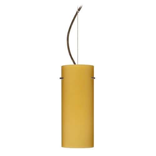 Besa Lighting Besa Lighting Stilo Bronze LED Pendant Light with Cylindrical Shade 1KX-4123VM-LED-BR