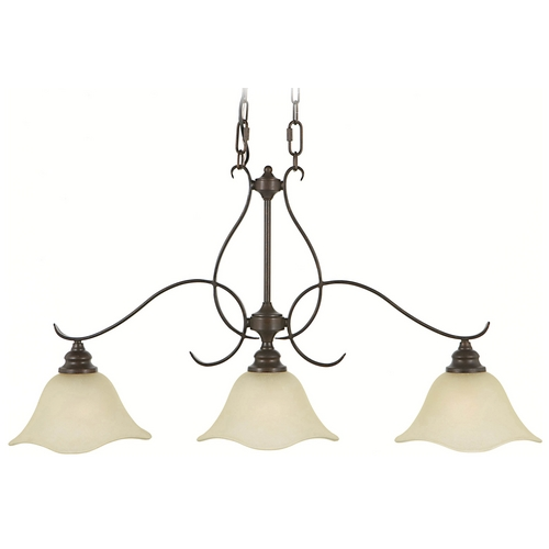 Home Solutions by Feiss Lighting Island Light with Beige / Cream Glass in Grecian Bronze Finish F2048/3GBZ