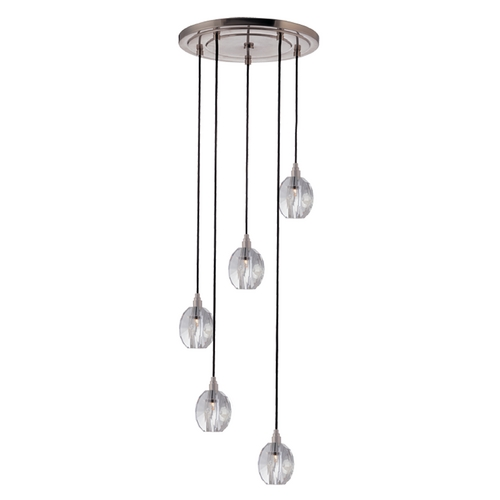 Hudson Valley Lighting Modern Multi-Light Pendant Light with Clear Glass and 5-Lights 3615-SN-B-005