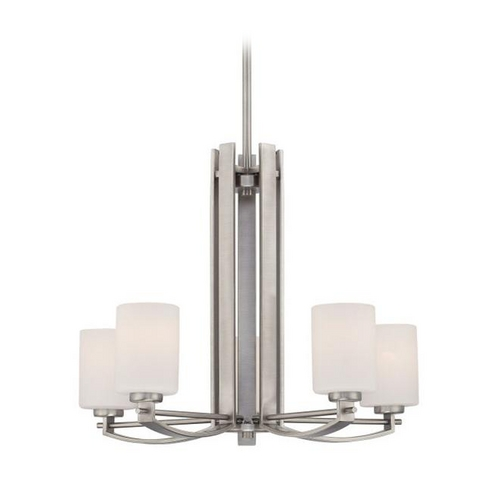Quoizel Lighting Modern Chandelier with White Glass in Antique Nickel Finish TY5005AN