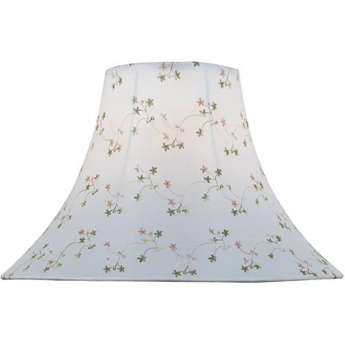 Lite Source Lighting White Jacquard Bell Lamp Shade with Spider Assembly CH1148-16