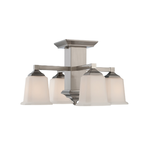 Quoizel Lighting Semi-Flushmount Light with White Glass in Brushed Nickel Finish QF1213SBN