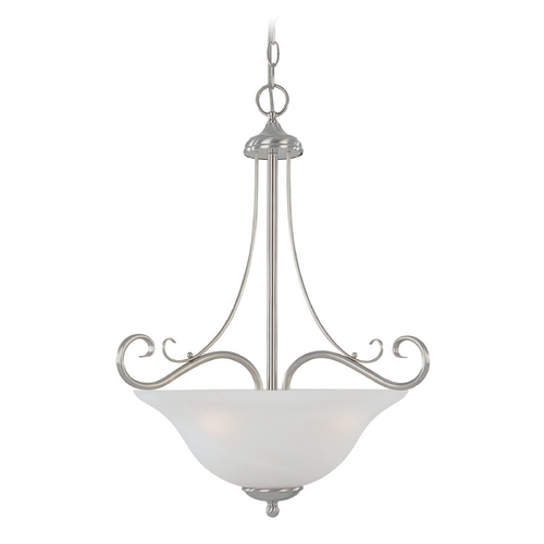 Designers Fountain Lighting Pendant Light with Alabaster Glass in Satin Platinum Finish 98031-SP