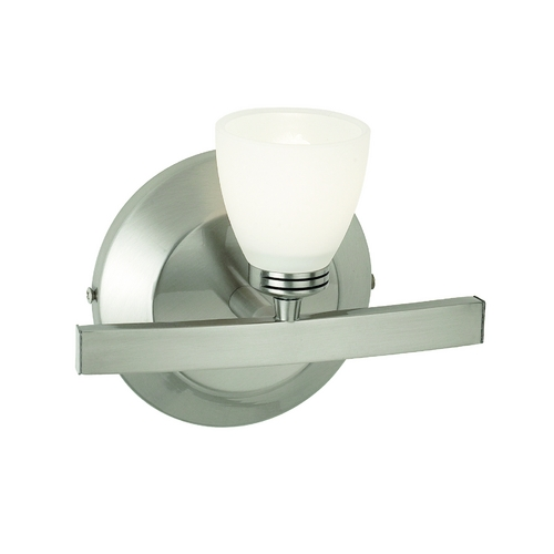 Access Lighting Modern Sconce Wall Light with White Glass in Matte Chrome Finish 63811-19-MC/FST