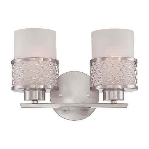 Nuvo Lighting Modern Bathroom Light with White Shades in Brushed Nickel Finish 60/4682