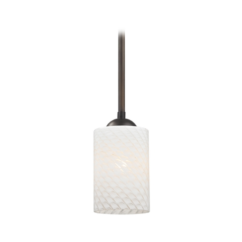 Design Classics Lighting Modern Mini-Pendant Light with White Cylinder Art Glass Shade 581-220 GL1020C