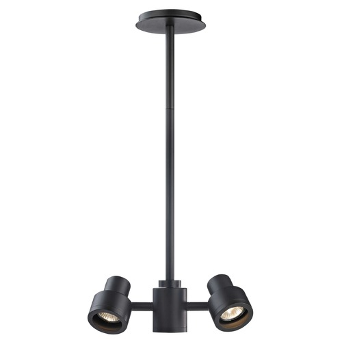 Recesso Lighting by Dolan Designs 2-Light Stepped Cylinder Adjustable Monopoint - Black - GU10 Base TR0212-BK
