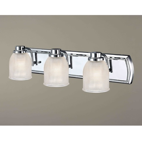 Design Classics Lighting 3-Light Bathroom Light with Clear Prismatic Glass in Chrome Finish 1203-26 GL1058-FC
