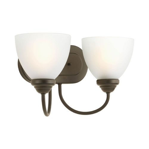 Progress Lighting Progress Bathroom Light with White Glass in Antique Bronze Finish P2915-20