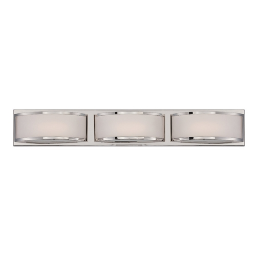 Nuvo Lighting Modern LED Bathroom Light with White Glass in Polished Nickel Finish 62/313