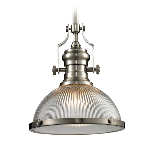 Elk Lighting Pendant Light with Clear Glass in Satin Nickel Finish 66523-1