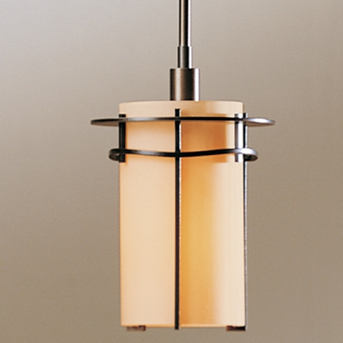 Hubbardton Forge Lighting Hubbardton Forge Lighting Exos Bronze Mini-Pendant Light with Cylindrical Shade 18763-252-05-H138