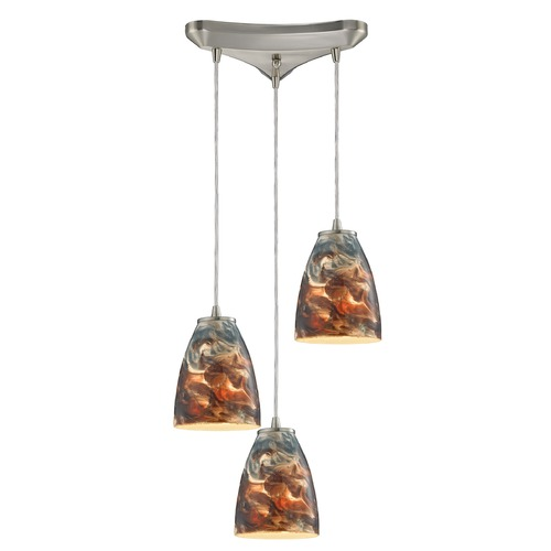 Elk Lighting Elk Lighting Abstractions Satin Nickel Multi-Light Pendant with Bowl / Dome Shade 10460/3CS