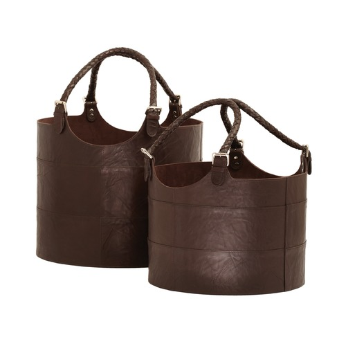 Dimond Lighting Nested Espresso Leather Buckets-Set Of 2 819007