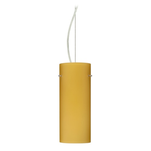 Besa Lighting Besa Lighting Stilo Satin Nickel LED Pendant Light with Cylindrical Shade 1KX-4123VM-LED-SN