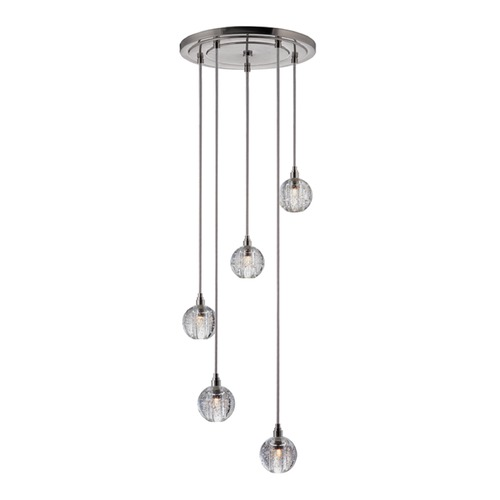 Hudson Valley Lighting Naples Satin Nickel Multi-Light Pendant with Bowl Shade 3615-SN-S-001