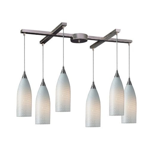 Elk Lighting Modern Multi-Light Pendant Light with White Glass and 6-Lights 522-6WS