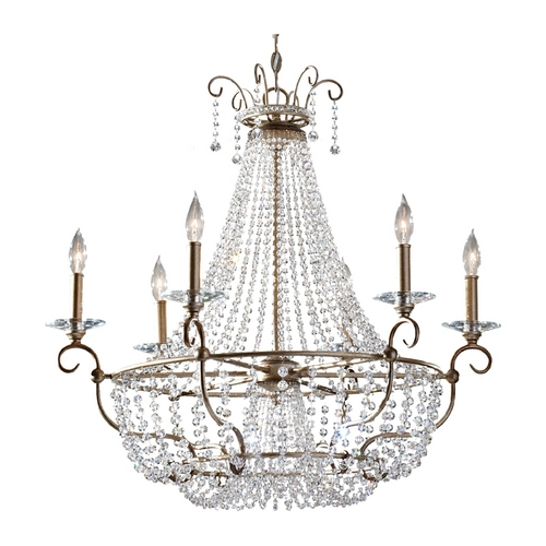 Feiss Lighting Crystal Chandelier in Burnished Silver Finish F2708/6BUS