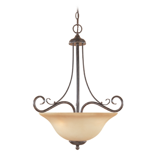 Designers Fountain Lighting Pendant Light with Amber Glass in Warm Mahogany Finish 98031-WM