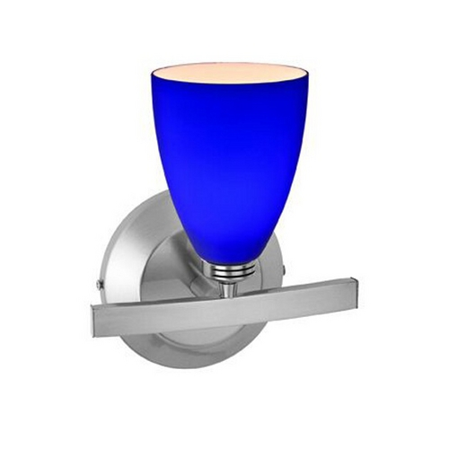 Access Lighting Modern Sconce Light with Blue Glass in Matte Chrome Finish 63811-19-MC/COB