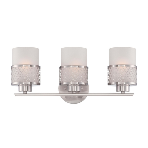 Nuvo Lighting Modern Bathroom Light with White Shades in Brushed Nickel Finish 60/4683