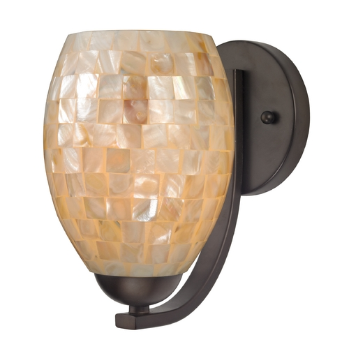 Design Classics Lighting Sconce with Mosaic Glass in Bronze Finish 585-220 GL1034