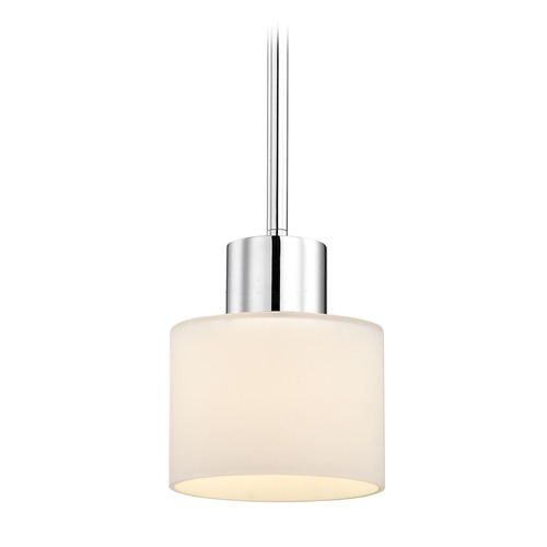 Design Classics Lighting Mai Chrome Mini-Pendant Light with Cylindrical Shade 1032-26