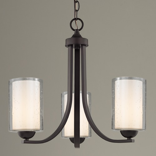Design Classics Lighting Seeded Glass Mini Chandelier 3-Lt Bronze 5843-220 GL1061 GL1041C