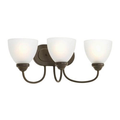 Progress Lighting Progress Bathroom Light with White Glass in Antique Bronze Finish P2919-20