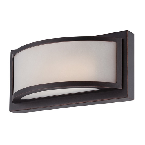 Nuvo Lighting Modern LED Sconce Wall Light with White Glass in Georgetown Bronze Finish 62/314