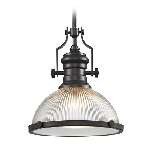 Elk Lighting Pendant Light with Clear Glass in Oil Rubbed Bronze Finish 66533-1