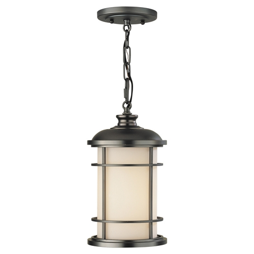 Feiss Lighting Outdoor Hanging Light with White Glass in Burnished Bronze Finish OL2209BB