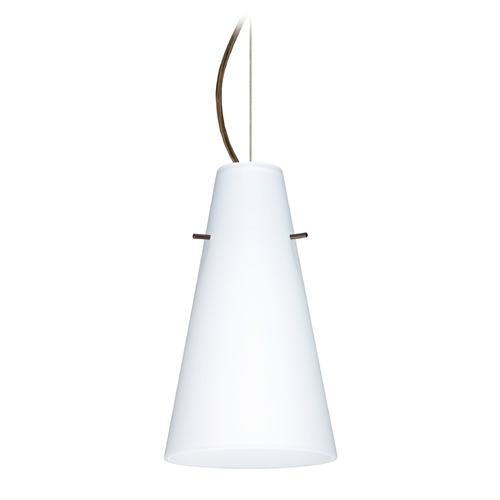 Besa Lighting Besa Lighting Cierro Bronze LED Mini-Pendant Light with Conical Shade 1KX-412407-LED-BR