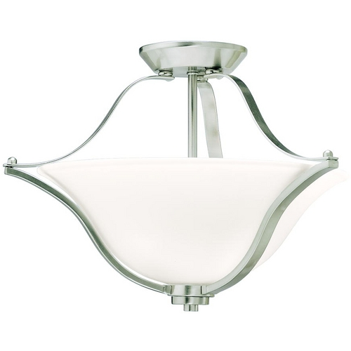 Kichler Lighting Kichler Brushed Nickel Semi-Flushmount Light with White Glass 3681NI