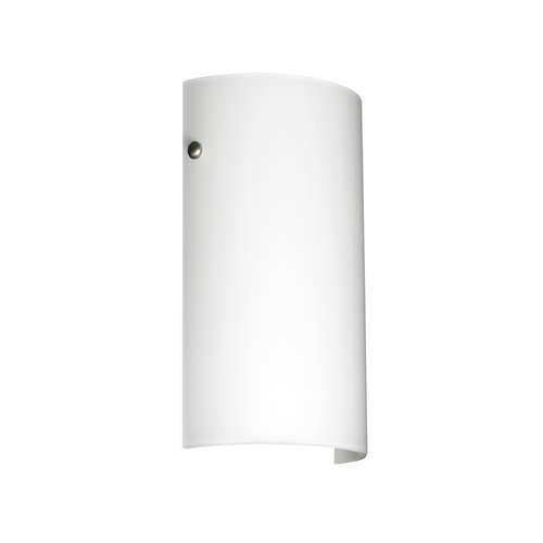 Besa Lighting Modern Sconce Wall Light with White Glass in Satin Nickel Finish 704207-SN