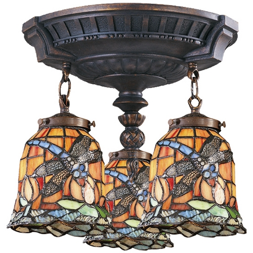 Elk Lighting Semi-Flushmount Light with Tiffany Glass in Aged Walnut Finish 997-AW-12
