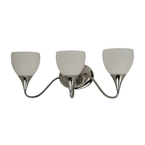 Sea Gull Lighting Modern Bathroom Light with White Glass in Polished Nickel Finish 44973-841