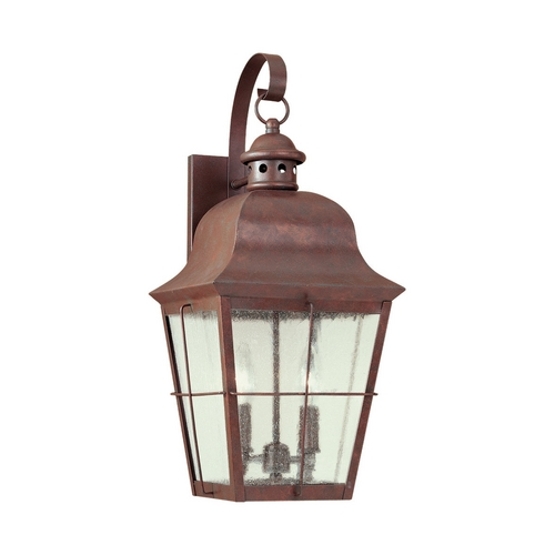 Sea Gull Lighting Outdoor Wall Light with Clear Glass in Weathered Copper Finish 8463-44