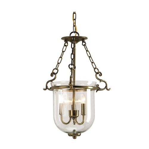 Currey and Company Lighting Pendant Light with Clear Glass in Antique Brass Finish 9538