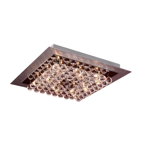 PLC Lighting Modern Flushmount Light with Clear Glass in Aluminum / Polished Chrome Finish 72114  AL/ PC