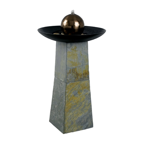Kenroy Home Lighting Fountain in Natural Green Slate with Copper Finished Ss Ball Finish 53226SL