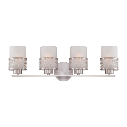 Nuvo Lighting Modern Bathroom Light with White Shades in Brushed Nickel Finish 60/4684