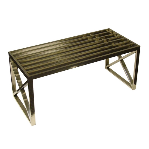 Light and Living Small Steel Bench in Polished Steel Finish 6208067