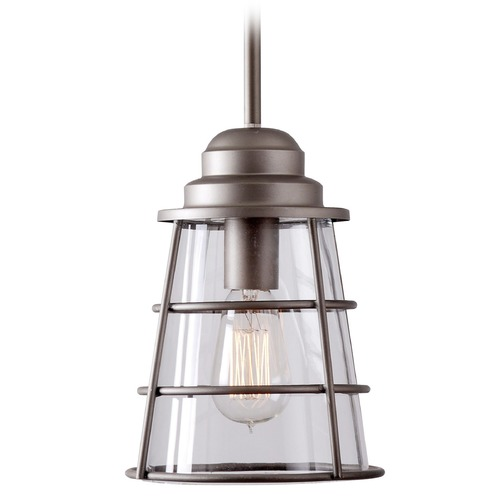 Kenroy Home Lighting Kenroy Home Lighting Wharfside Metallic Pewter Mini-Pendant Light with Empire Shade 93008MP