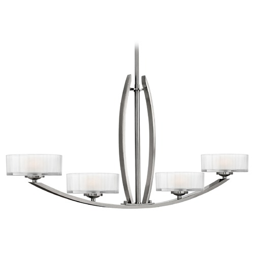 Hinkley Lighting Chandelier with White Glass in Brushed Nickel Finish 3874BN